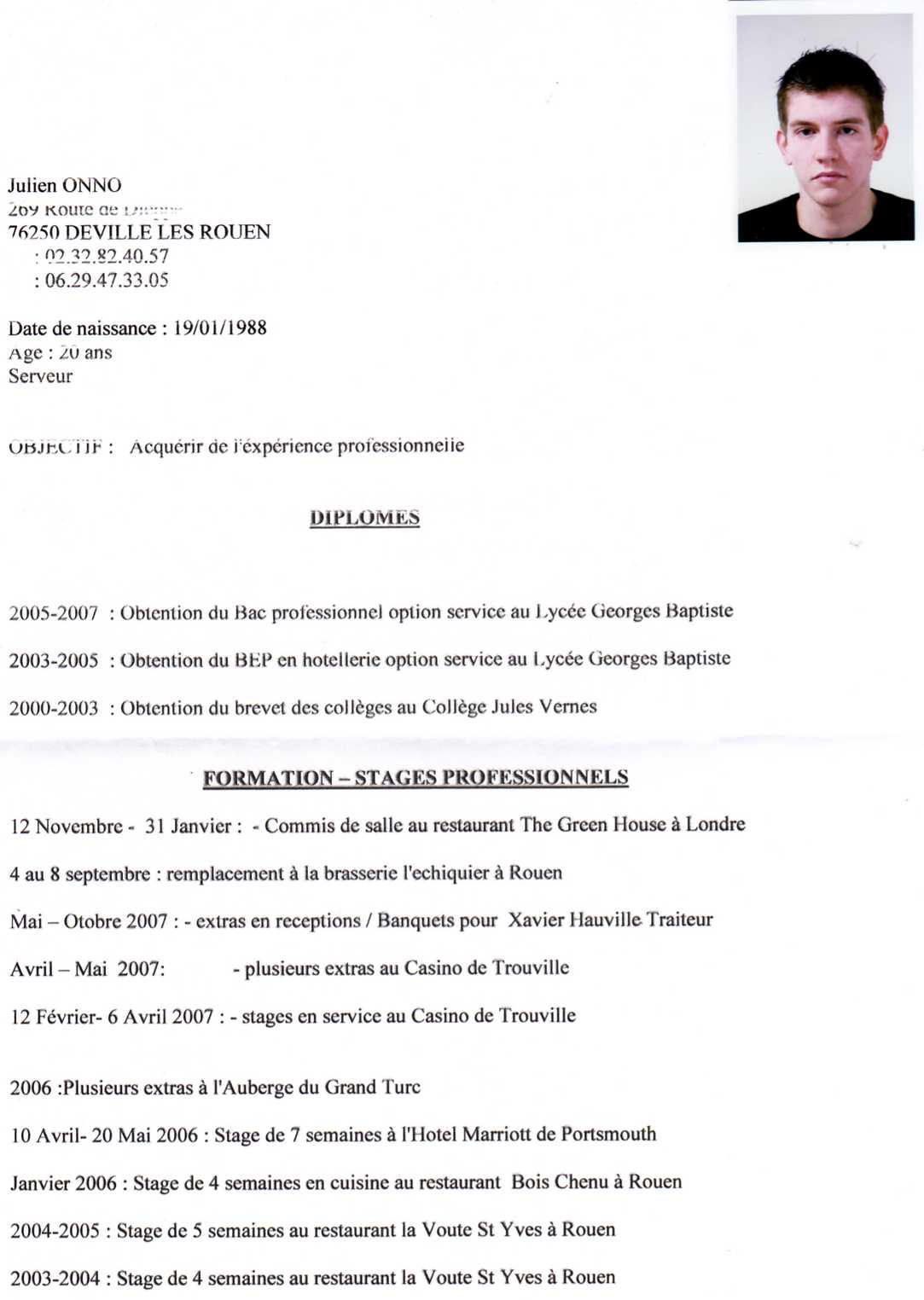 example resume  exemple cv anglais serveur