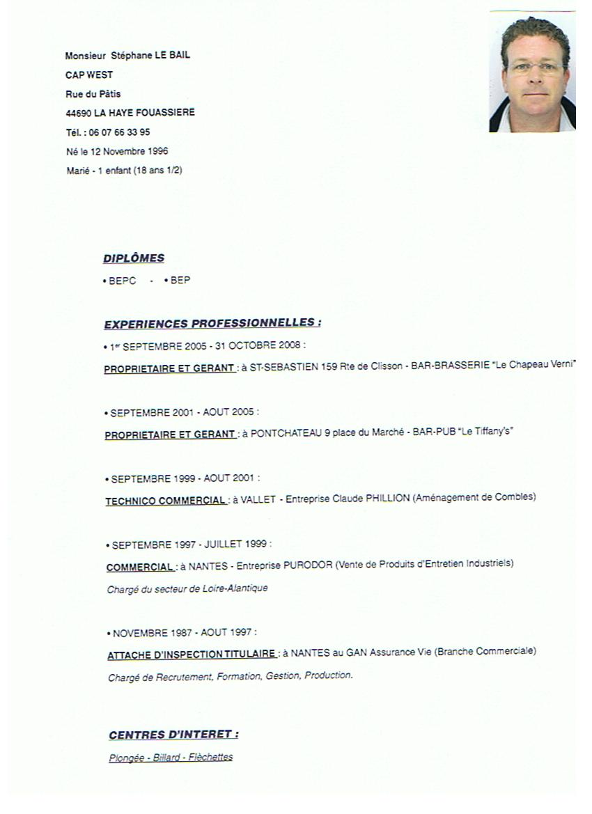 example resume  exemple cv barman